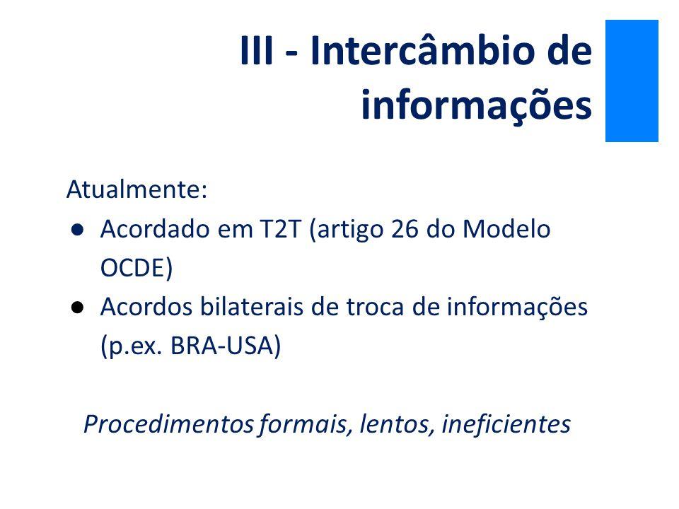 III - Intercâmbio de informações