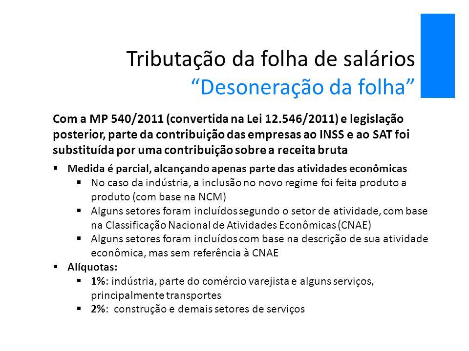 Tributação da folha de salários Desoneração da folha