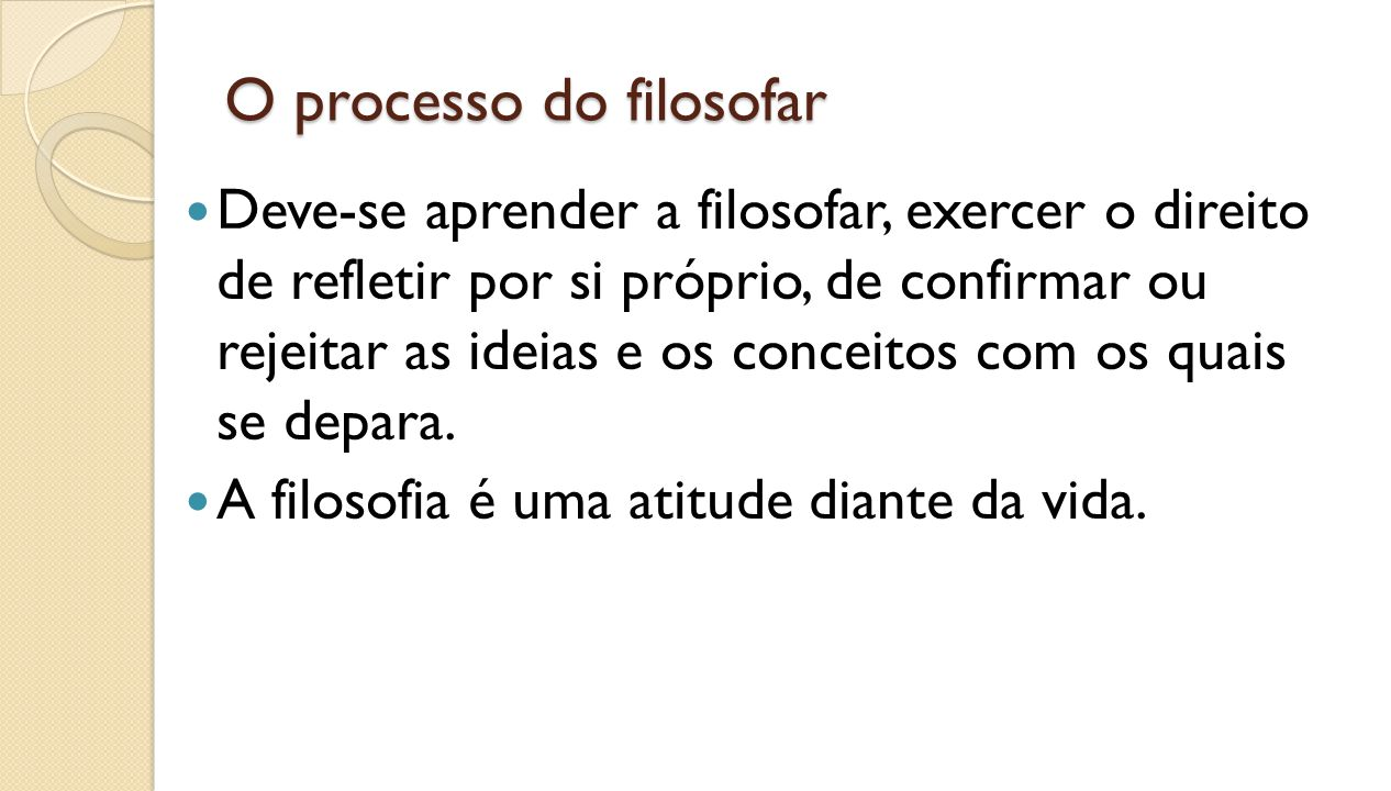 O processo do filosofar