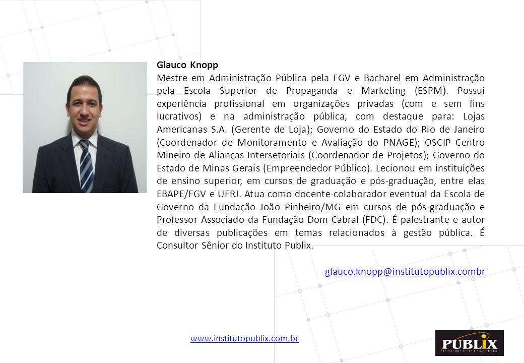 Glauco Knopp Mestre em Administração Pública pela FGV e Bacharel em Administração pela Escola Superior de Propaganda e Marketing (ESPM).