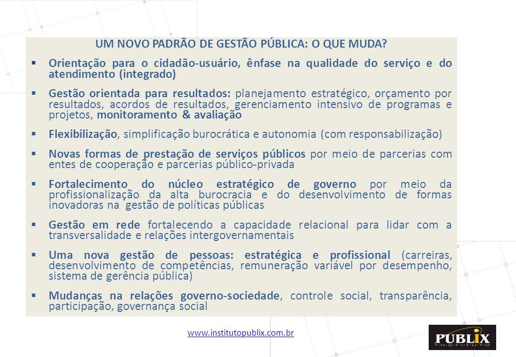 UM NOVO PADRÃO DE GESTÃO PÚBLICA: O QUE MUDA