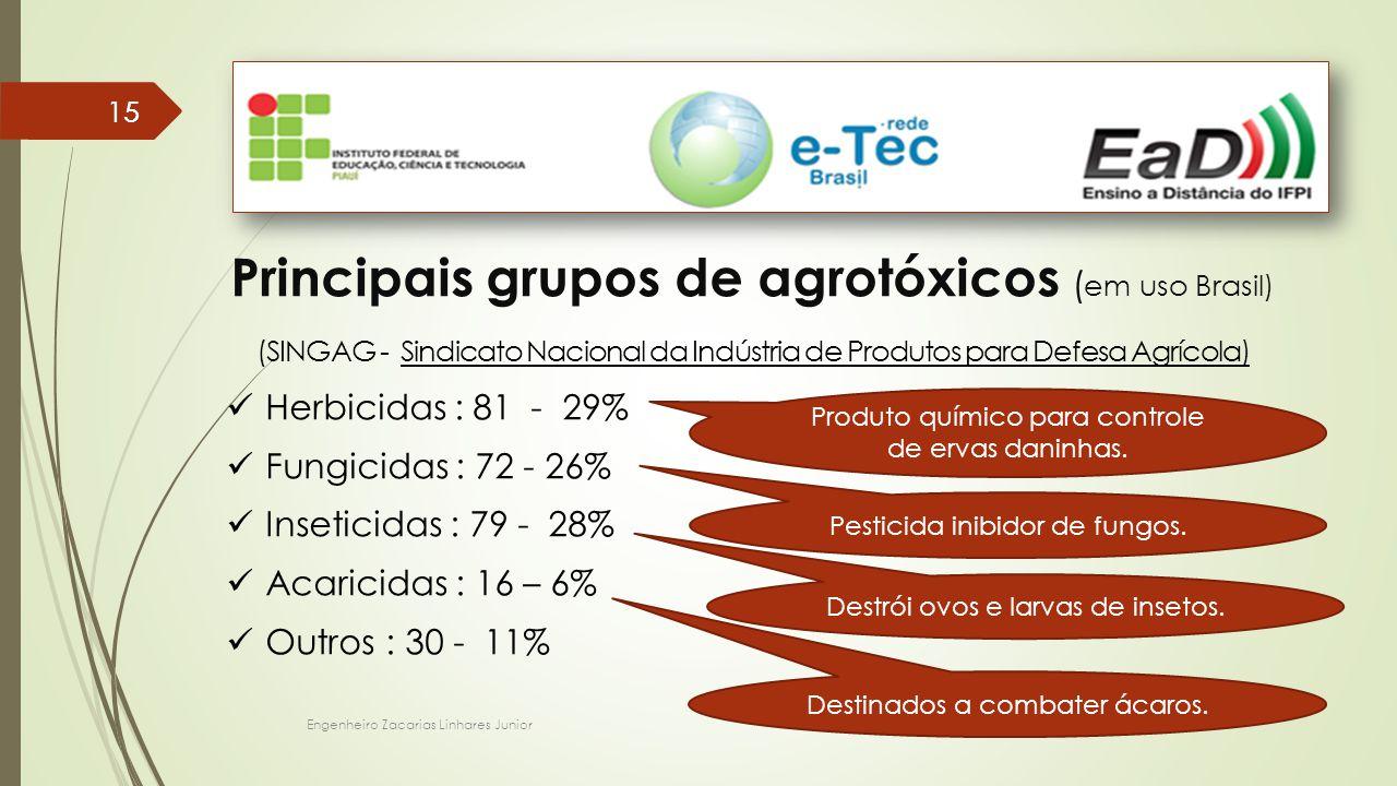 Principais grupos de agrotóxicos (em uso Brasil)