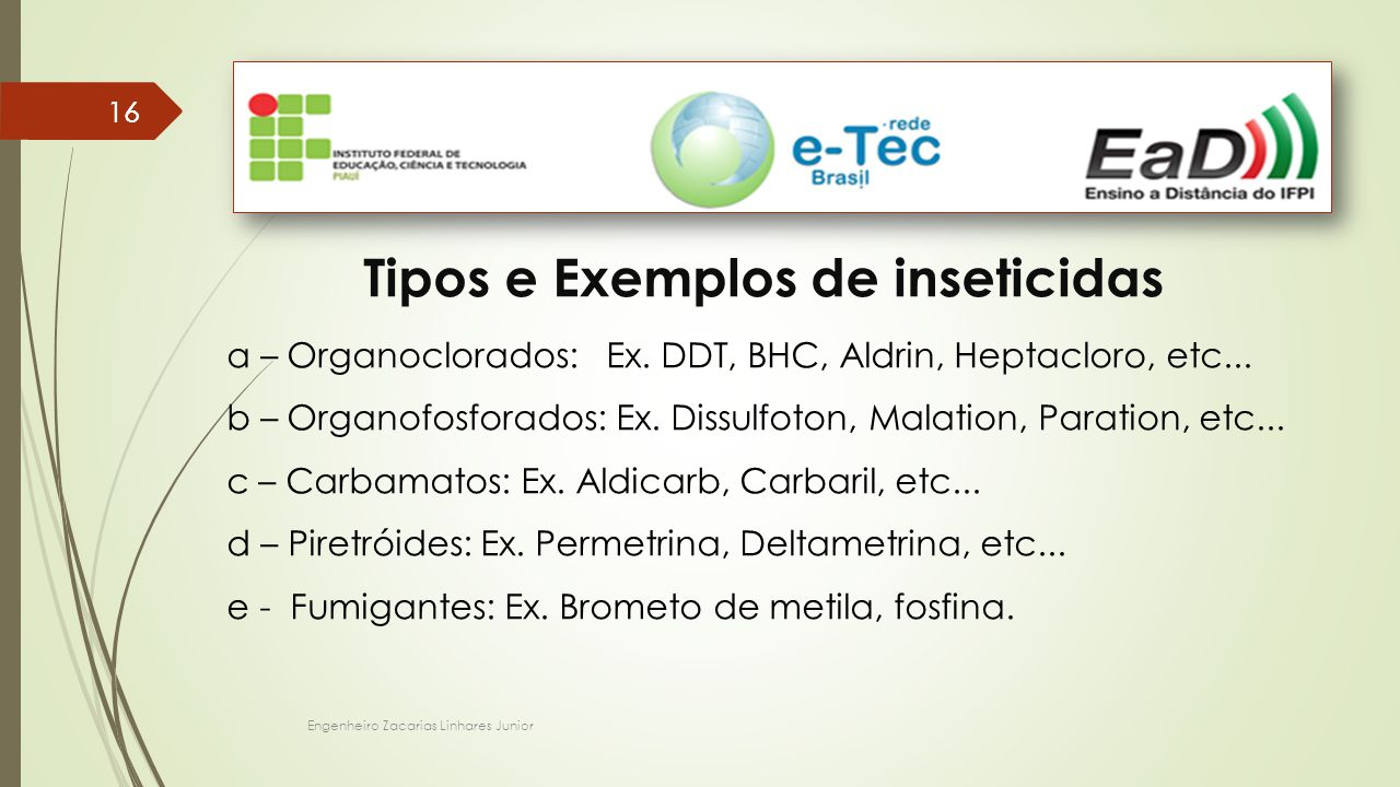 Tipos e Exemplos de inseticidas