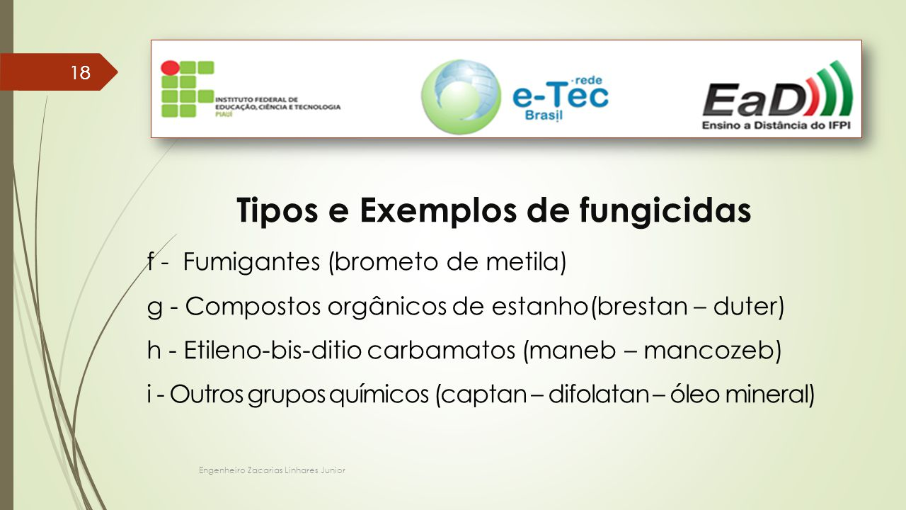 Tipos e Exemplos de fungicidas