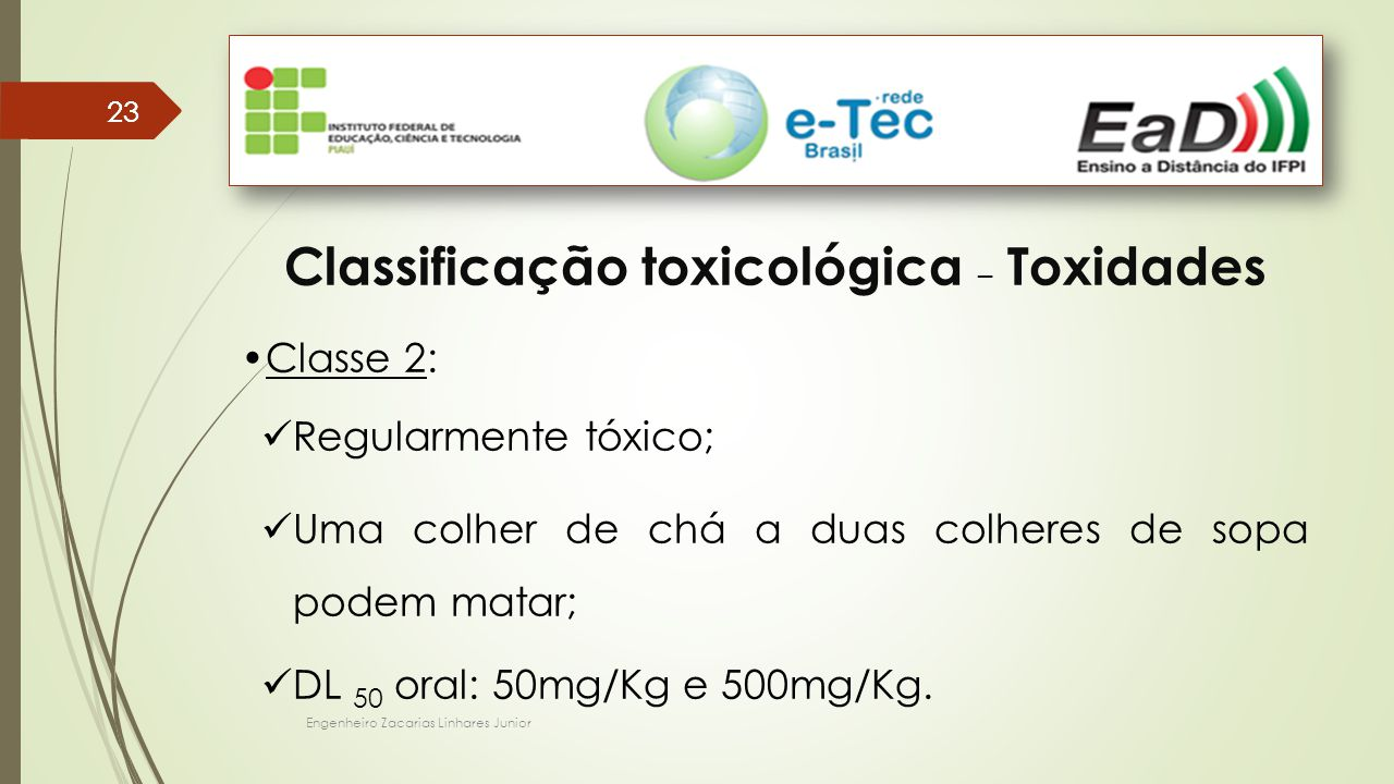 Classificação toxicológica – Toxidades