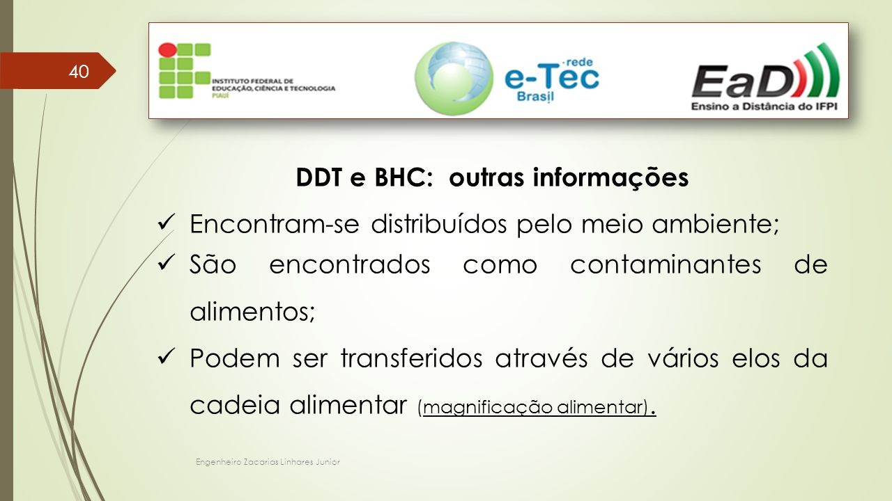DDT e BHC: outras informações