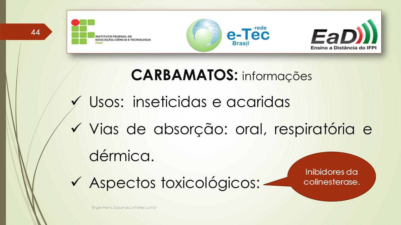 CARBAMATOS: informações Usos: inseticidas e acaridas