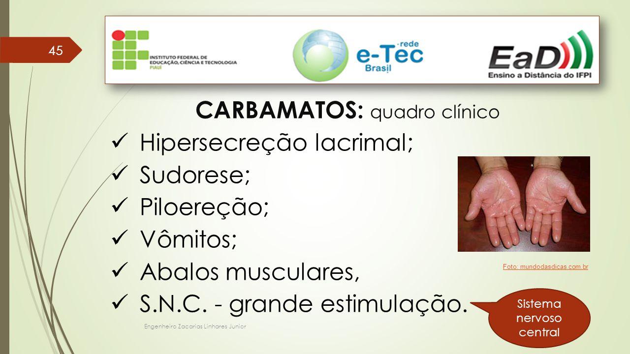 CARBAMATOS: quadro clínico Hipersecreção lacrimal; Sudorese;