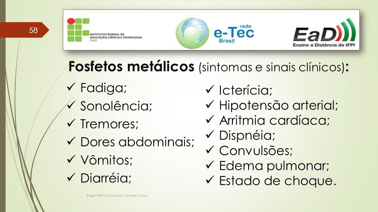 Fosfetos metálicos (sintomas e sinais clínicos):