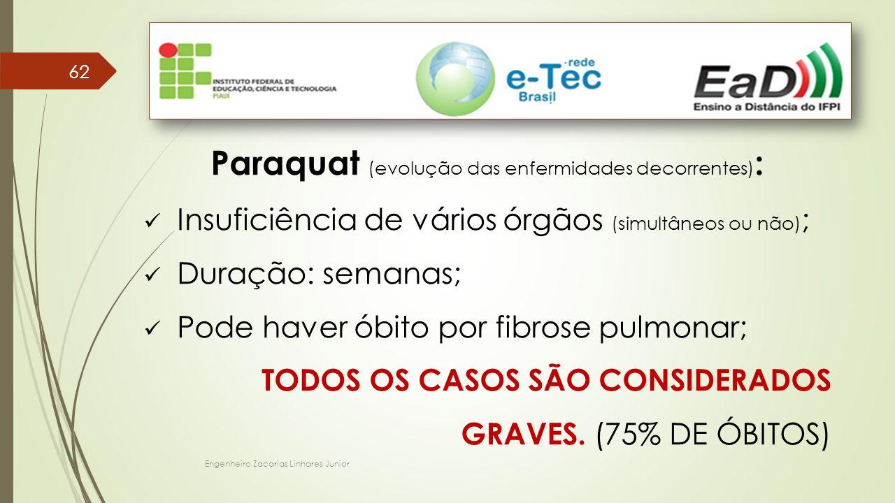 Paraquat (evolução das enfermidades decorrentes):