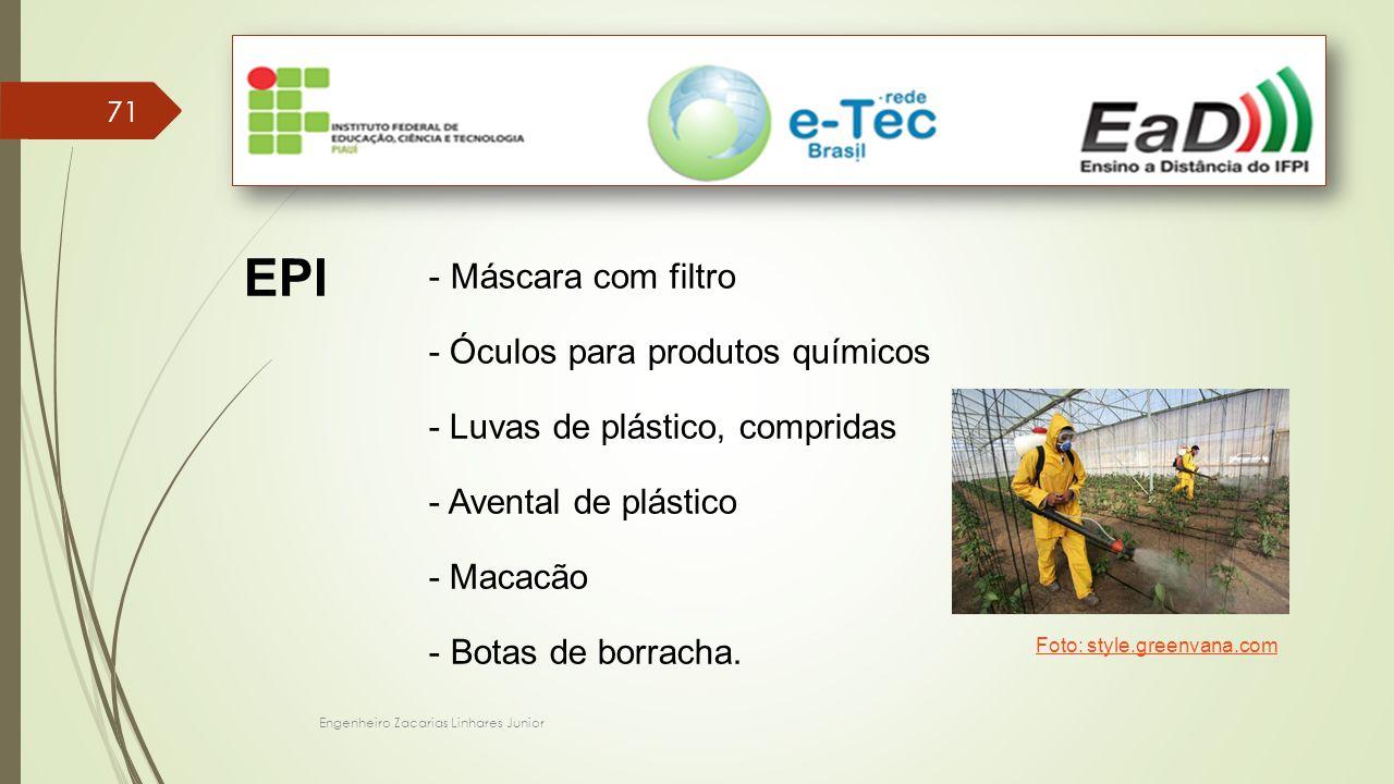 Máscara com filtro - Óculos para produtos químicos - Luvas de plástico, compridas - Avental de plástico - Macacão