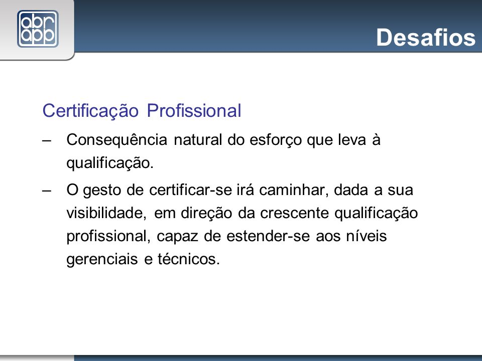 Desafios Certificação Profissional