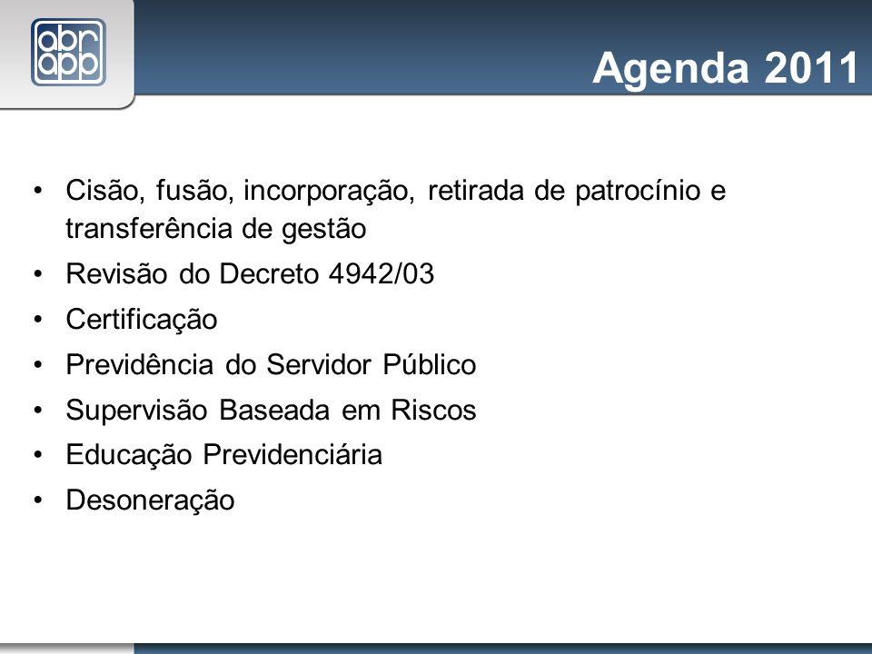 Agenda 2011Cisão, fusão, incorporação, retirada de patrocínio e transferência de gestão. Revisão do Decreto 4942/03.