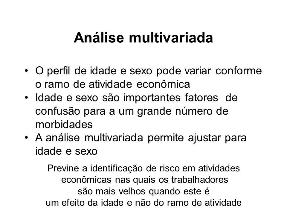 Análise multivariadaO perfil de idade e sexo pode variar conforme o ramo de atividade econômica.