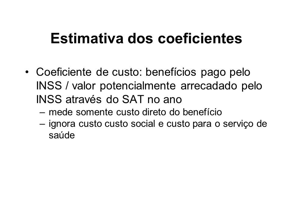Estimativa dos coeficientes