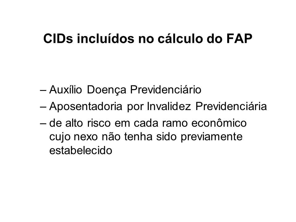 CIDs incluídos no cálculo do FAP