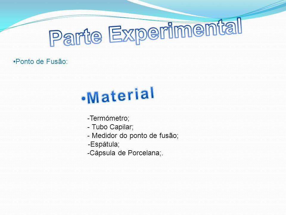 Parte Experimental Material Ponto de Fusão: -Termómetro;