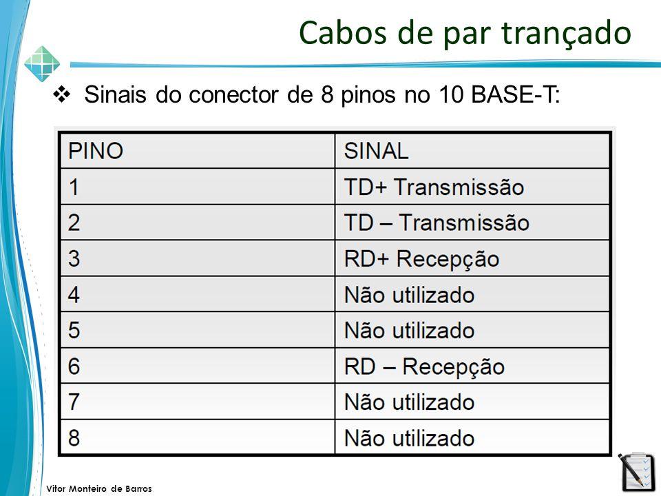 Cabos de par trançado Sinais do conector de 8 pinos no 10 BASE-T: