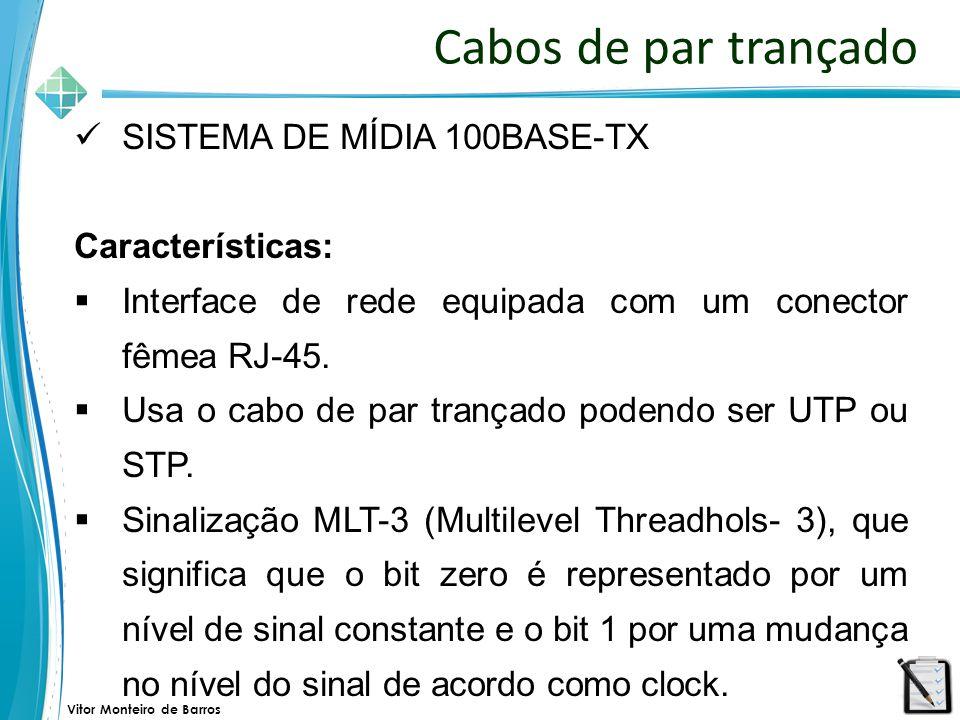 Cabos de par trançado SISTEMA DE MÍDIA 100BASE-TX Características: