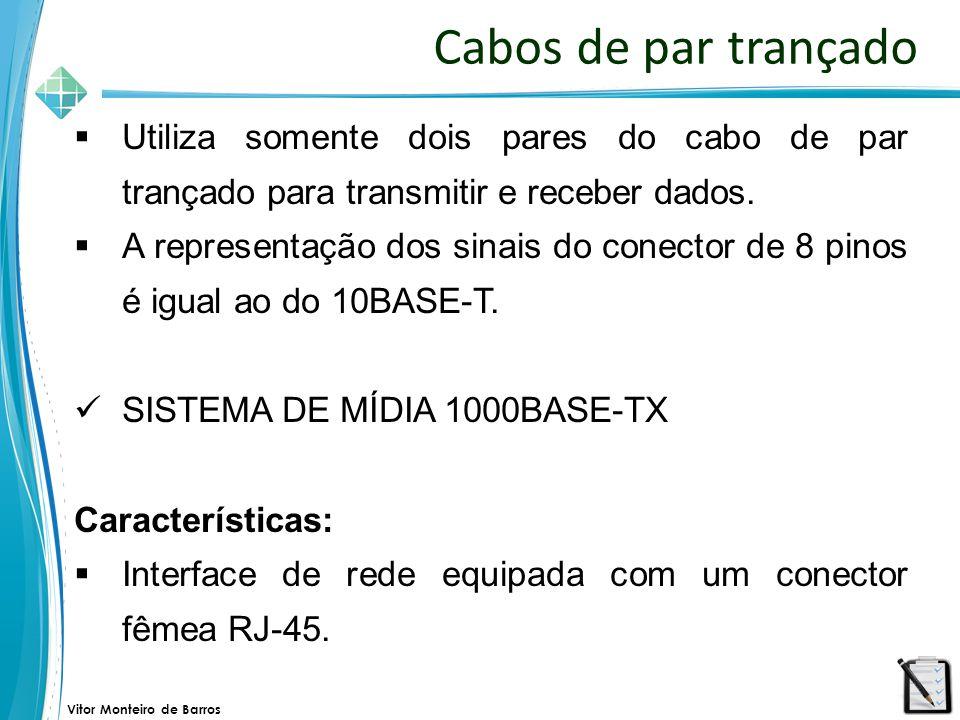 Cabos de par trançado Utiliza somente dois pares do cabo de par trançado para transmitir e receber dados.