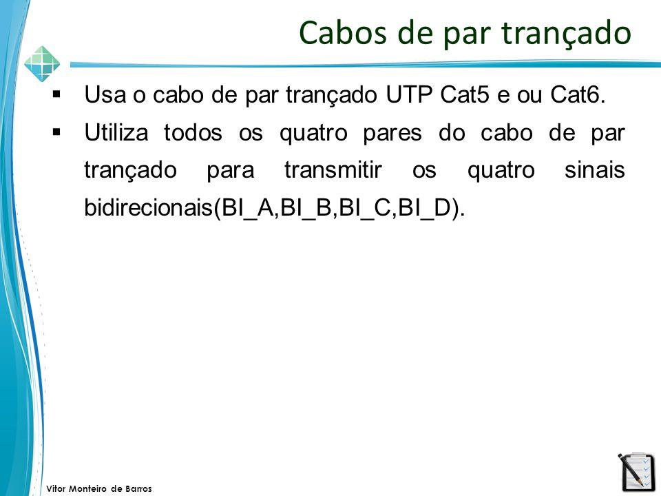 Cabos de par trançado Usa o cabo de par trançado UTP Cat5 e ou Cat6.