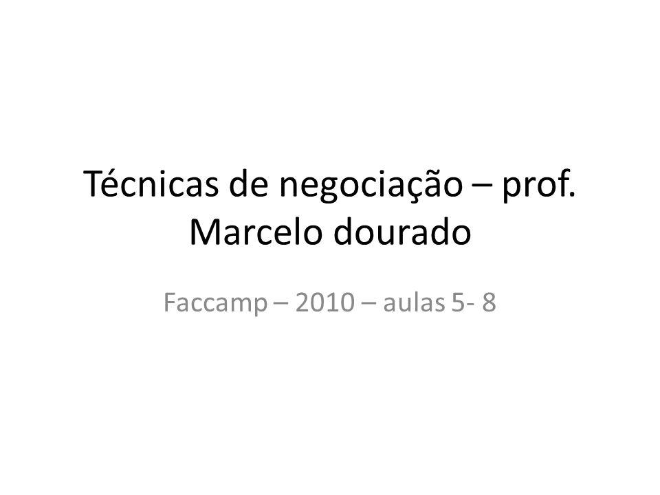 Técnicas de negociação – prof. Marcelo dourado