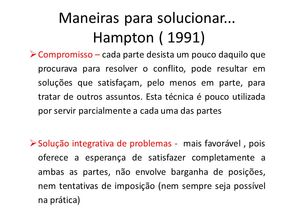 Maneiras para solucionar... Hampton ( 1991)