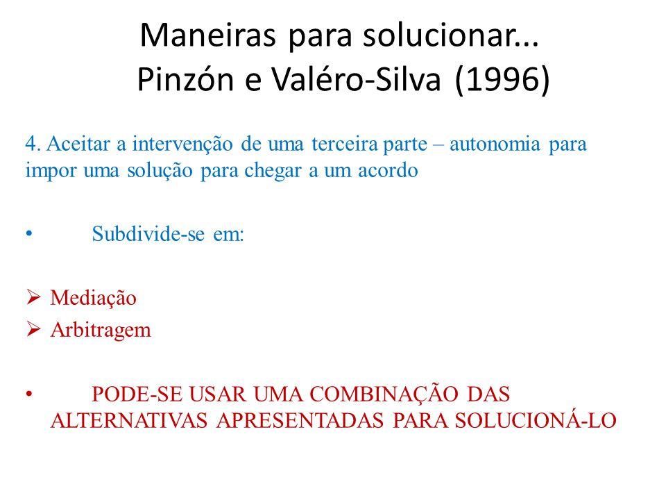 Maneiras para solucionar... Pinzón e Valéro-Silva (1996)