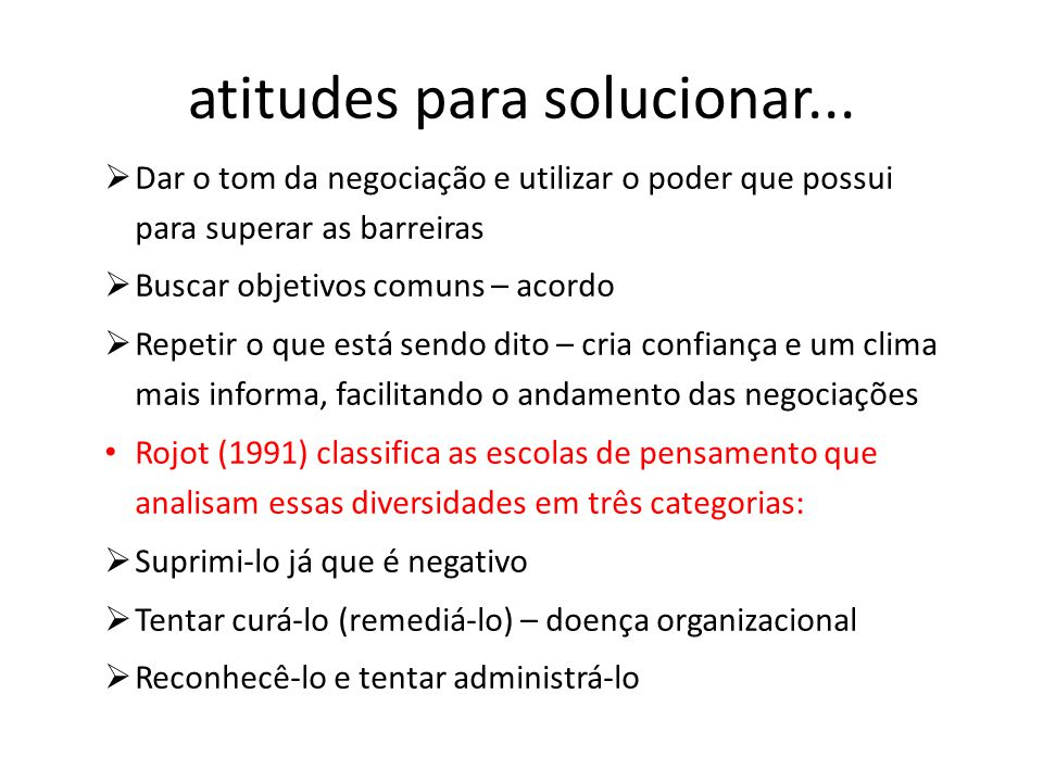 atitudes para solucionar...