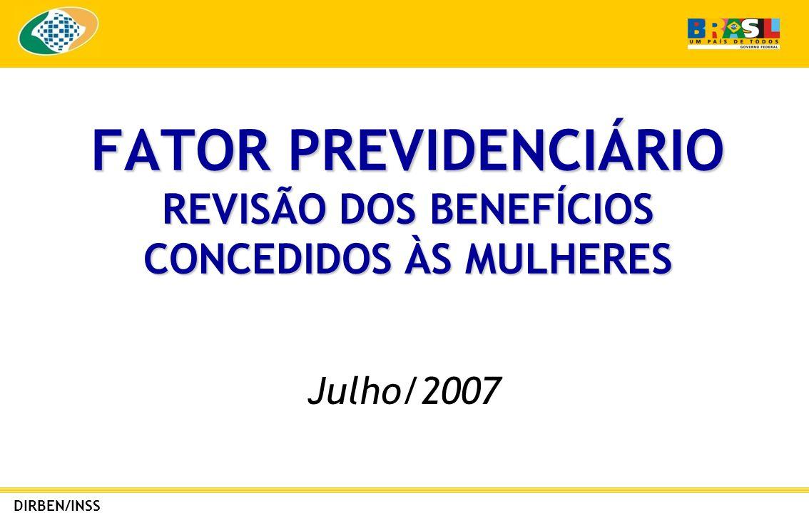 FATOR PREVIDENCIÁRIO REVISÃO DOS BENEFÍCIOS CONCEDIDOS ÀS MULHERES