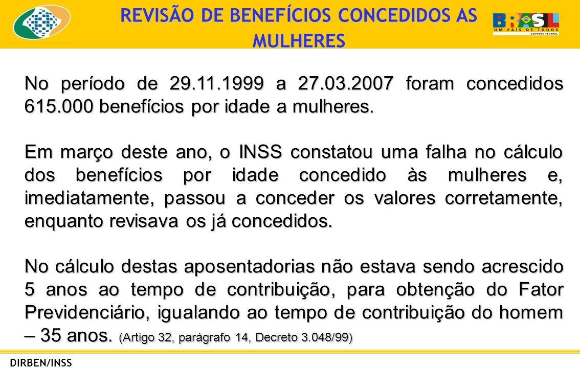 REVISÃO DE BENEFÍCIOS CONCEDIDOS AS MULHERES