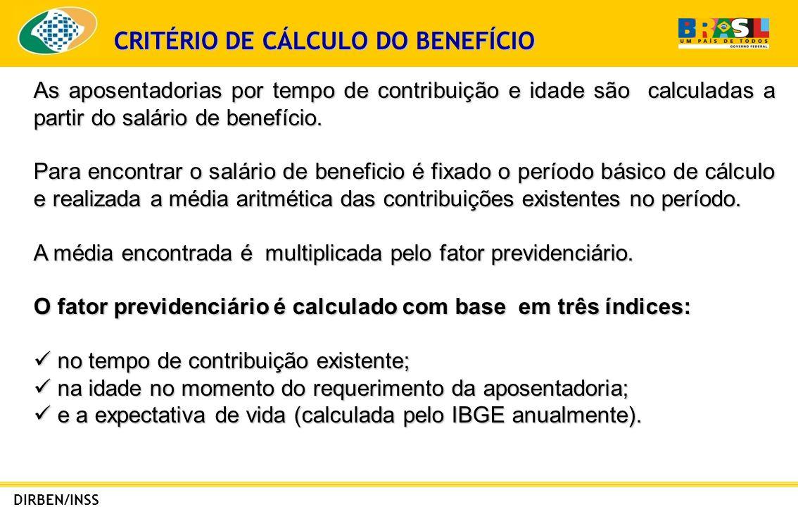 CRITÉRIO DE CÁLCULO DO BENEFÍCIO