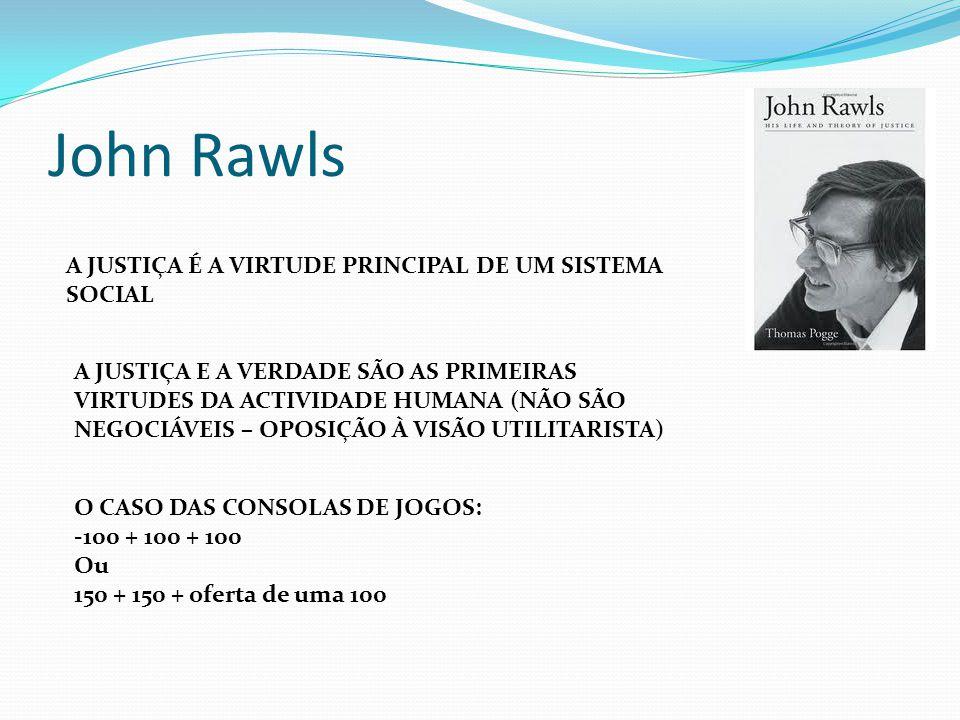 John Rawls A JUSTIÇA É A VIRTUDE PRINCIPAL DE UM SISTEMA SOCIAL
