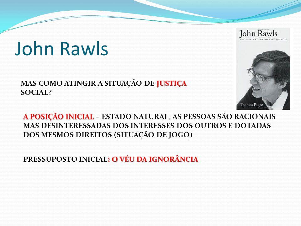 John Rawls MAS COMO ATINGIR A SITUAÇÃO DE JUSTIÇA SOCIAL