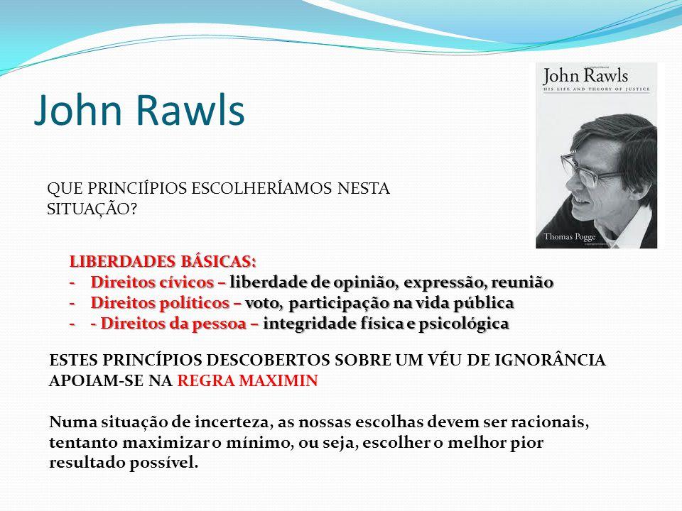 John Rawls QUE PRINCIÍPIOS ESCOLHERÍAMOS NESTA SITUAÇÃO