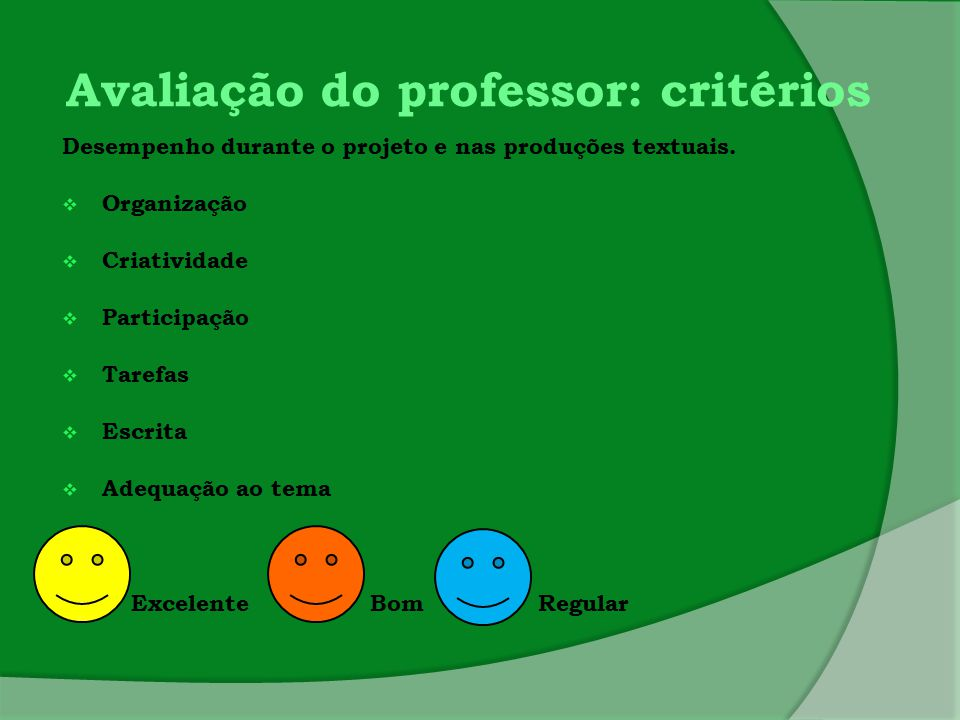 Avaliação do professor: critérios