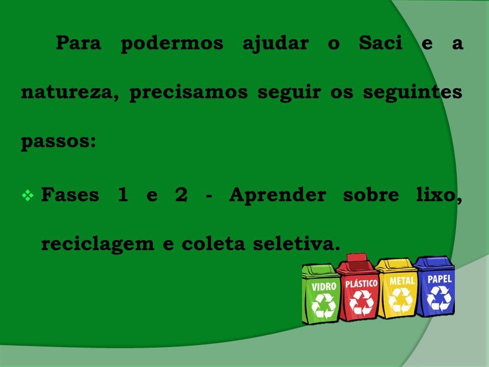 Para podermos ajudar o Saci e a natureza, precisamos seguir os seguintes passos: