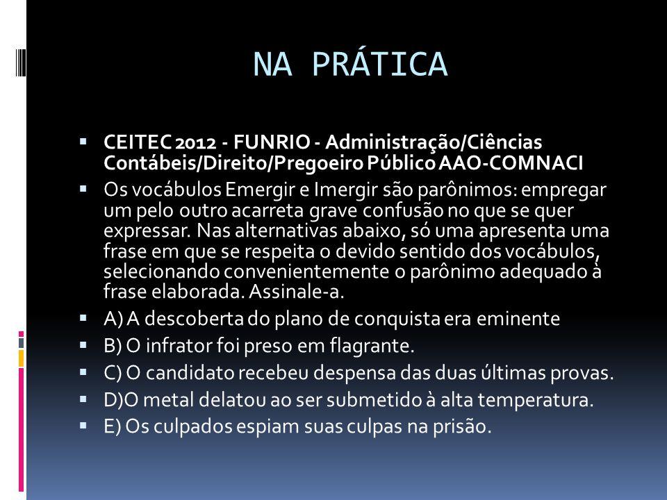 NA PRÁTICA CEITEC 2012 - FUNRIO - Administração/Ciências Contábeis/Direito/Pregoeiro Público AAO-COMNACI.