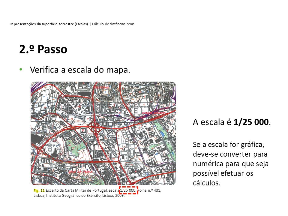 2.º Passo Verifica a escala do mapa. A escala é 1/25 000.