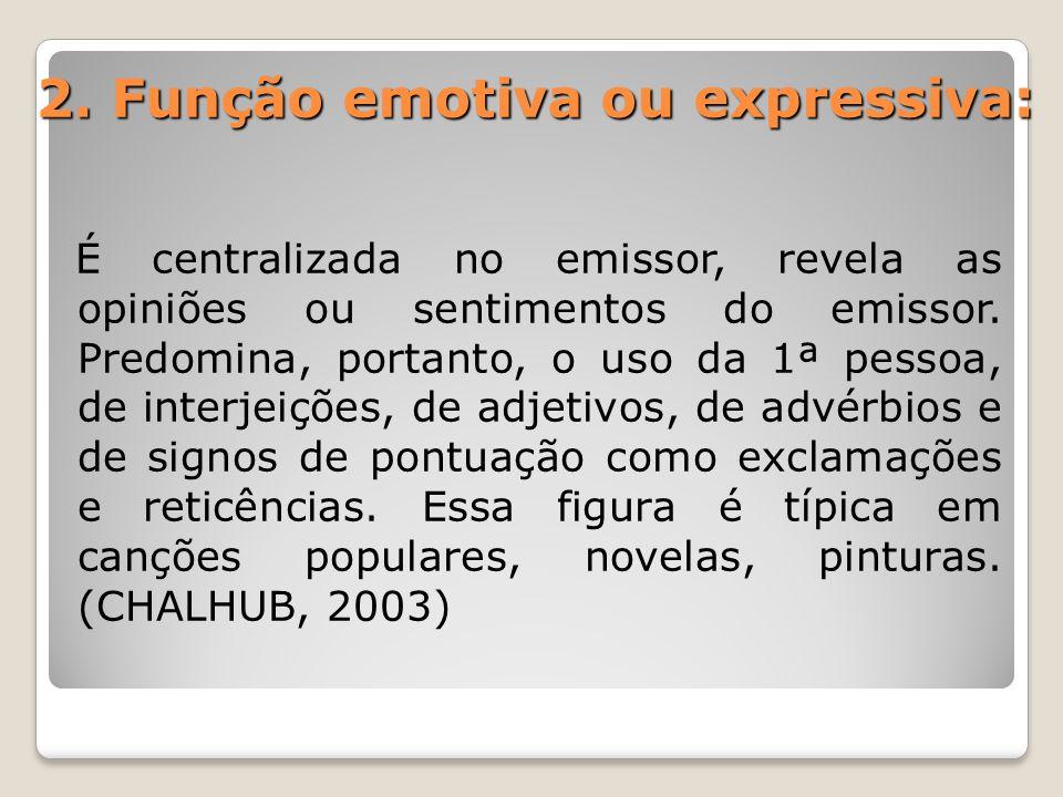2. Função emotiva ou expressiva: