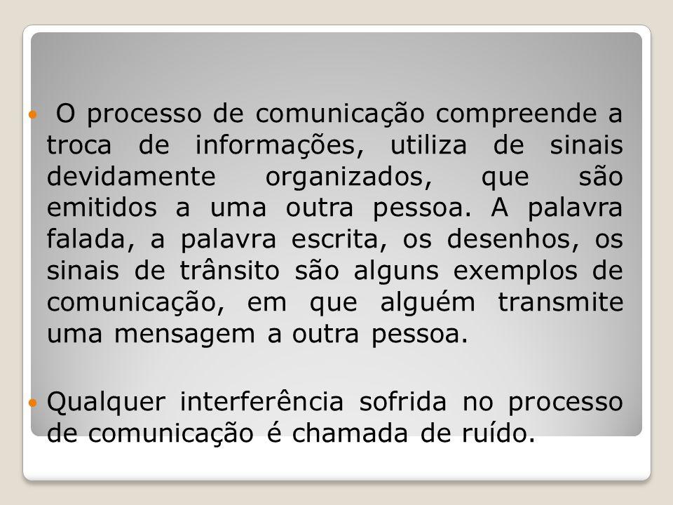 O processo de comunicação compreende a troca de informações, utiliza de sinais devidamente organizados, que são emitidos a uma outra pessoa. A palavra falada, a palavra escrita, os desenhos, os sinais de trânsito são alguns exemplos de comunicação, em que alguém transmite uma mensagem a outra pessoa.