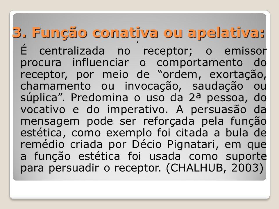 3. Função conativa ou apelativa:
