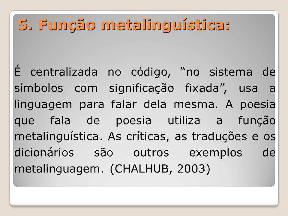 5. Função metalinguística: