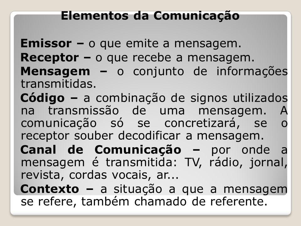 Elementos da Comunicação Emissor – o que emite a mensagem