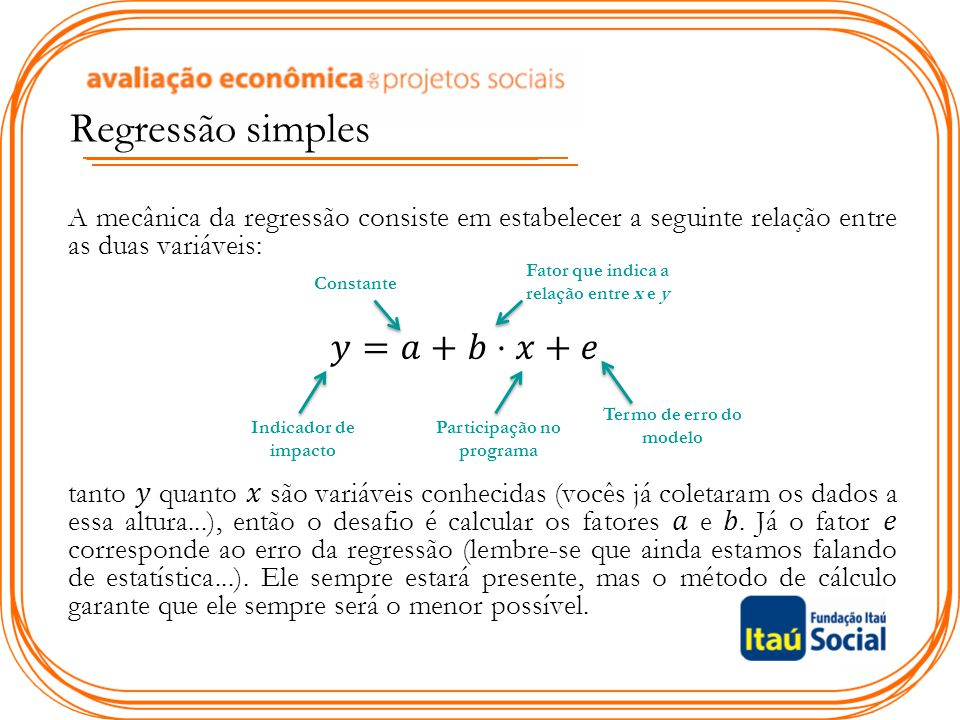Fator que indica a relação entre x e y Participação no programa