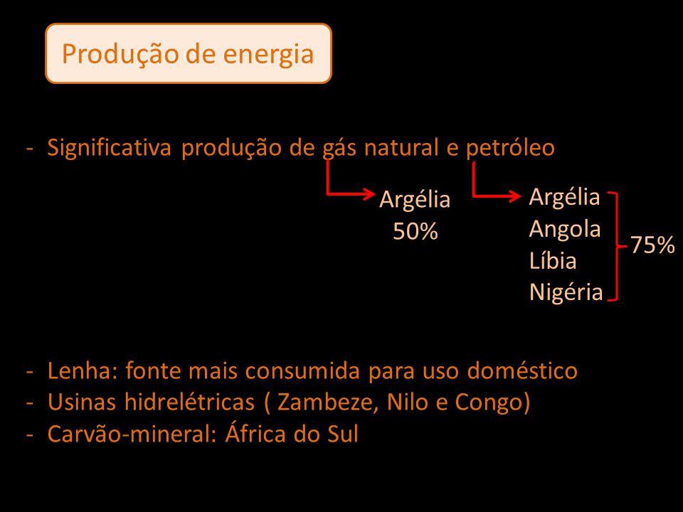 Produção de energia Significativa produção de gás natural e petróleo