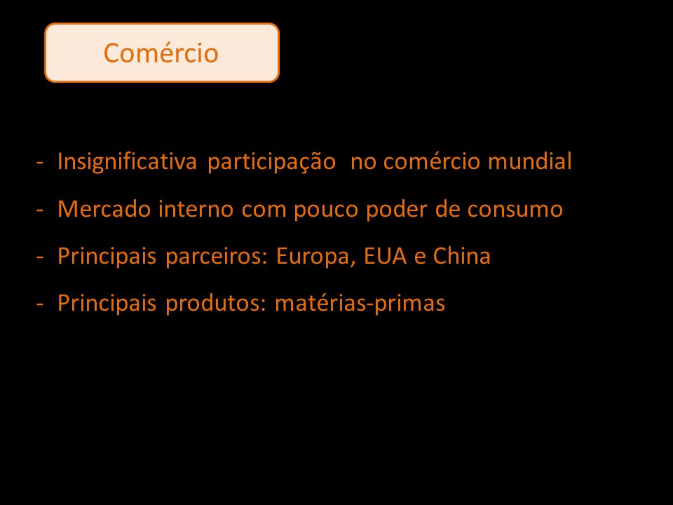 Comércio Insignificativa participação no comércio mundial