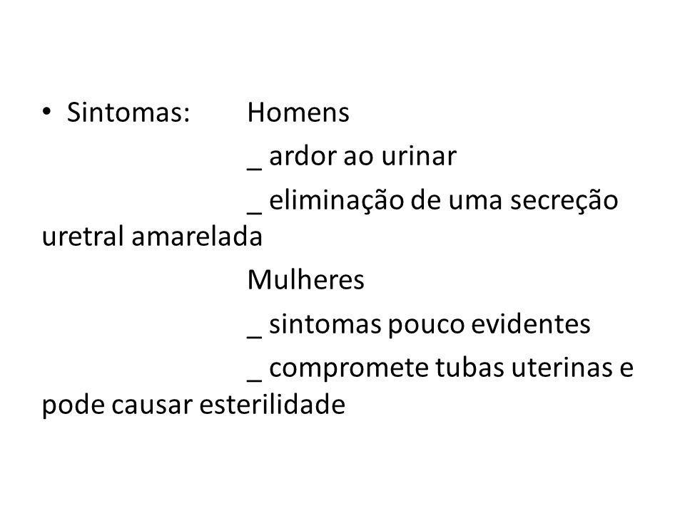 Sintomas: Homens _ ardor ao urinar. _ eliminação de uma secreção uretral amarelada. Mulheres. _ sintomas pouco evidentes.