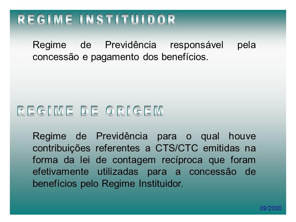 REGIME INSTITUIDOR REGIME DE ORIGEM