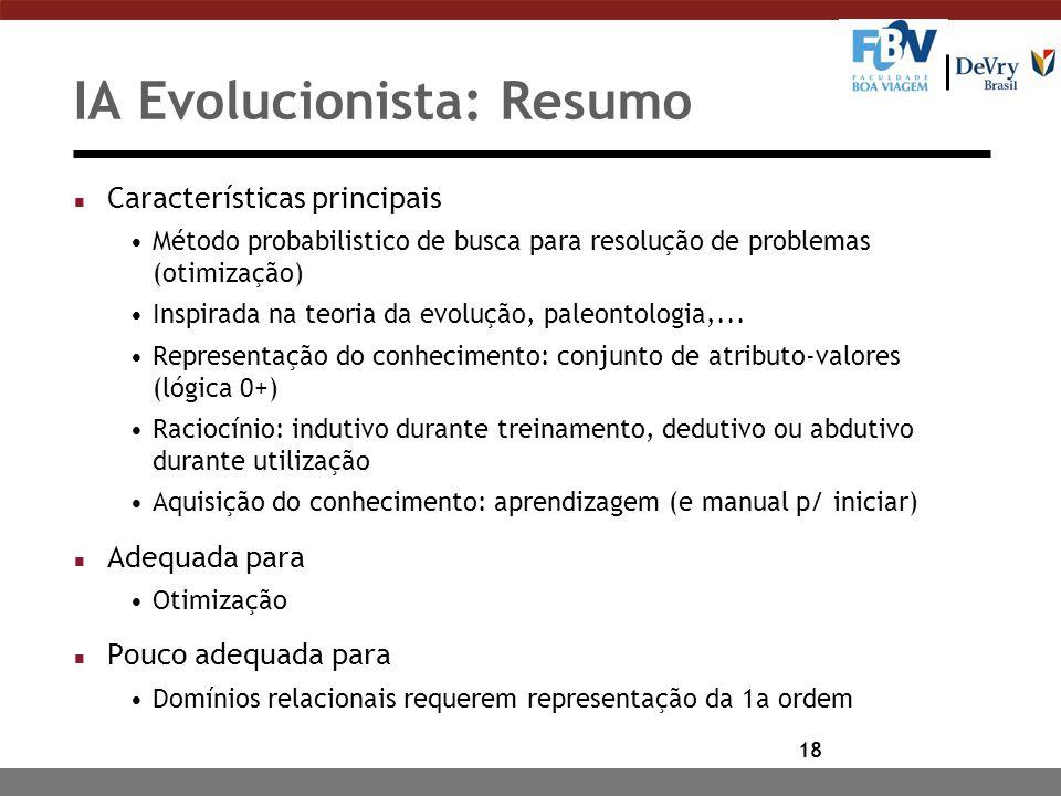 IA Evolucionista: Resumo